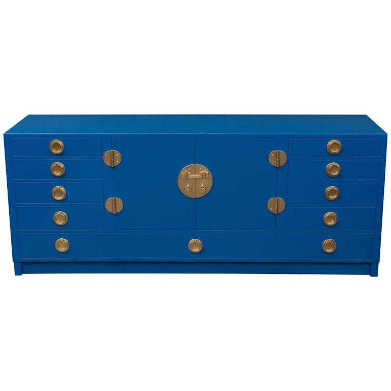 Dunbar Blue Lacquer Credenza 1