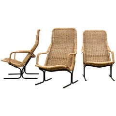 Dirk Van Sliedregt High Back Woven Rattan Lounge Chair with Black Frame