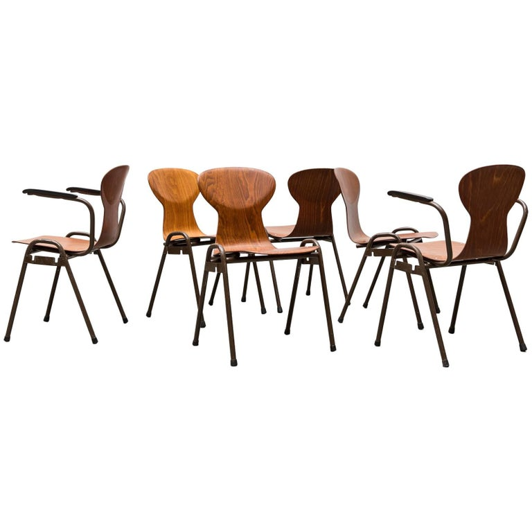Fritz Hansen Style Stacking Teak Toned School Chairs 1