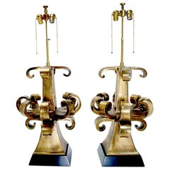 Rare Pair of Gold Italian Zanuso Lamps