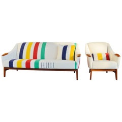 Danish Teak Sofa and Lounge Chair with Bay Blanket Upholstery