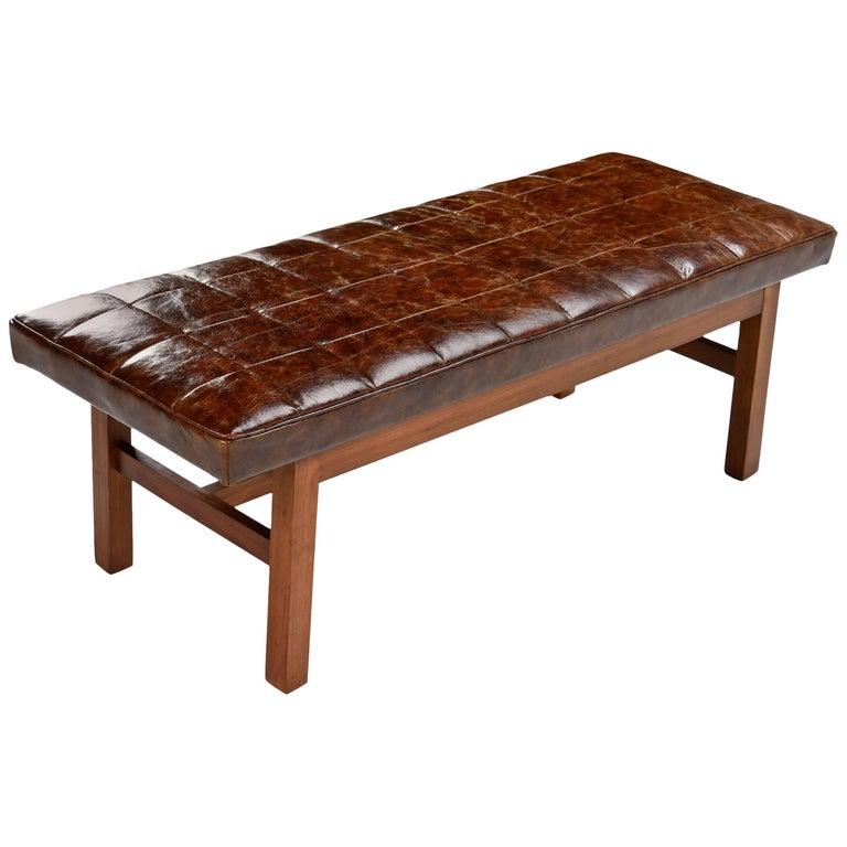 Mid Century Modern Bench: Leather Mid-Century Modern Walnut Risom Style Bench