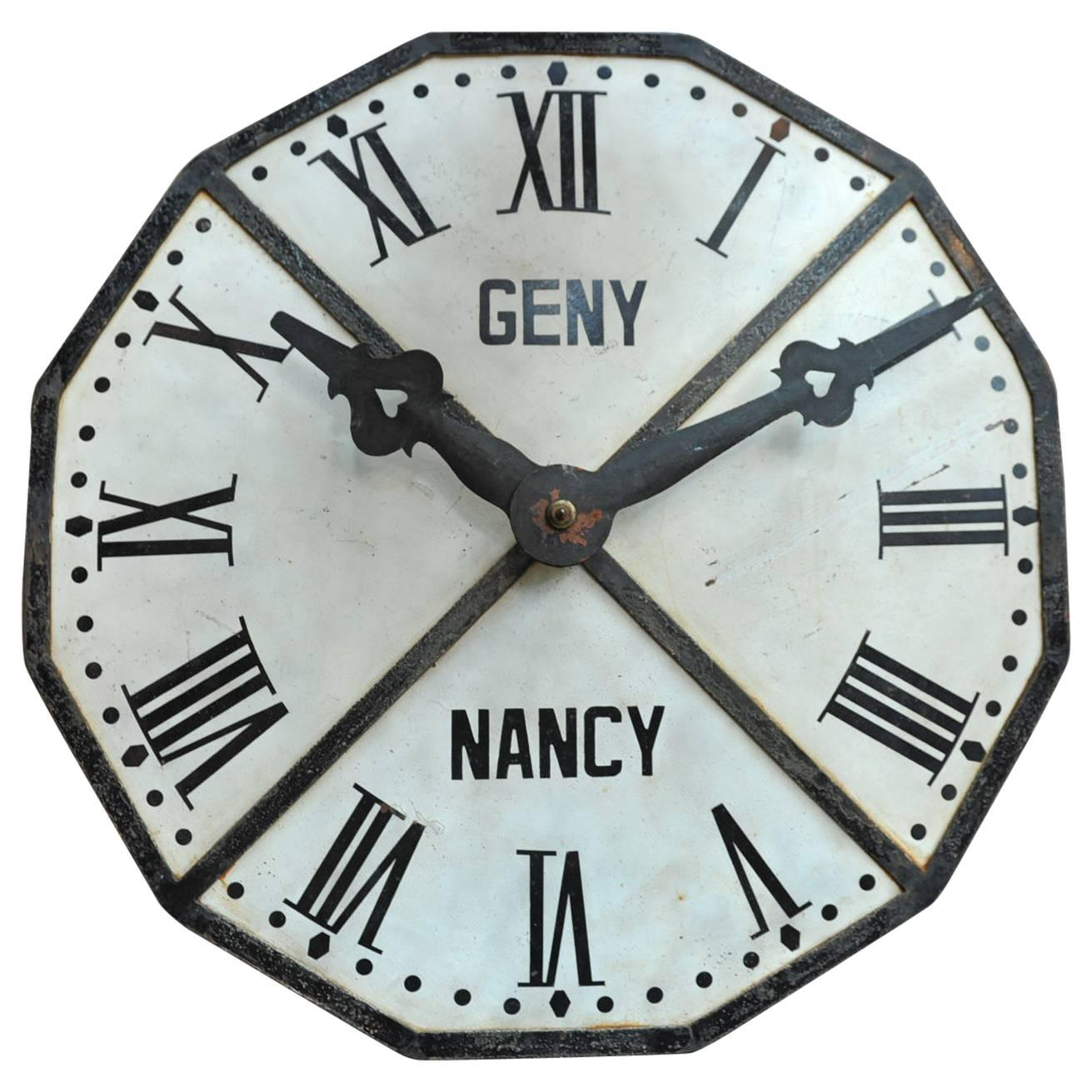 1900s french large iron train station clock face 1
