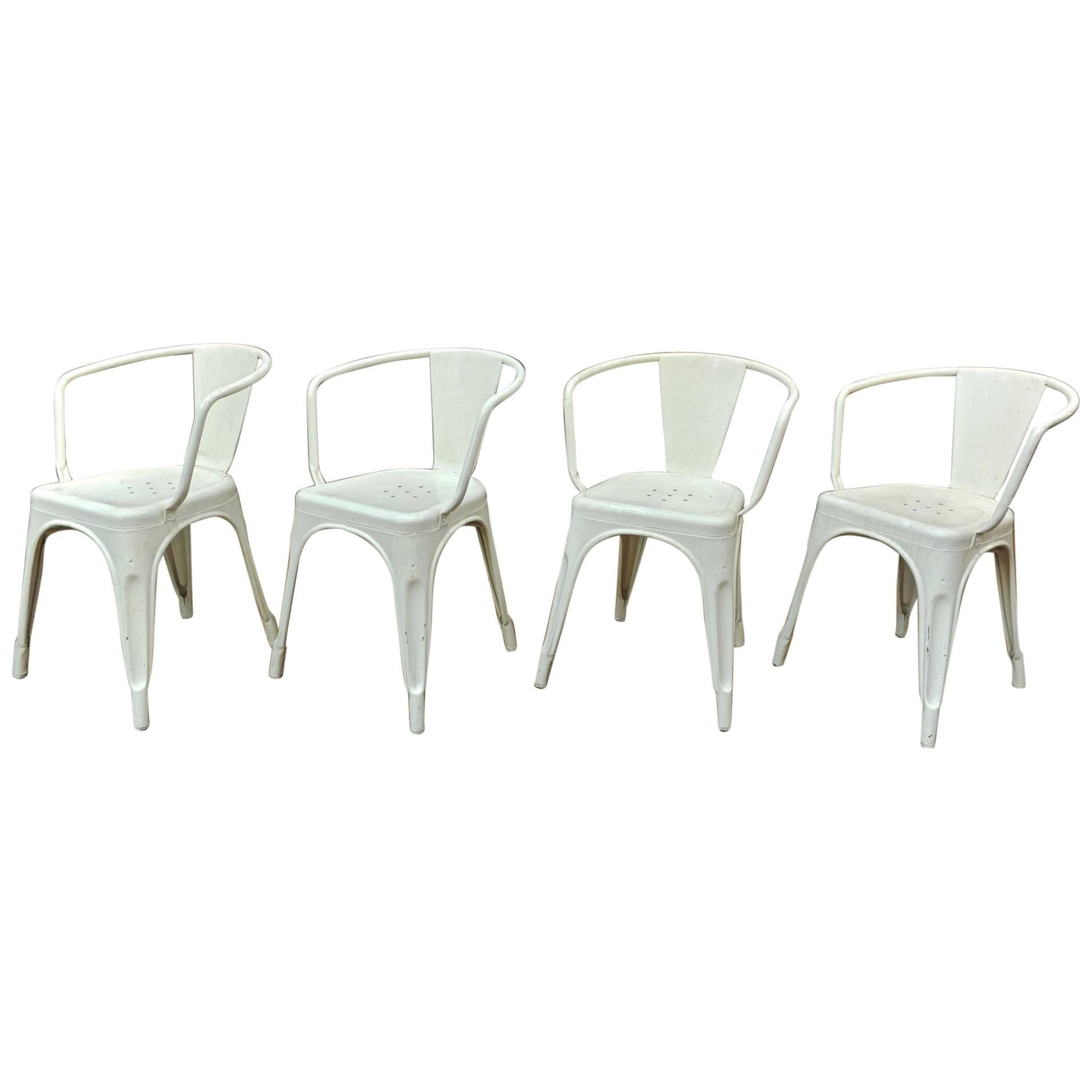 Set Of Four Iron Vintage White Color Iron Tolix Chairs, Circa 1950 For Sale
