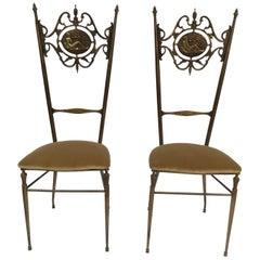 Italian Chiavari Neoclassical Brass Chairs, circa 1950