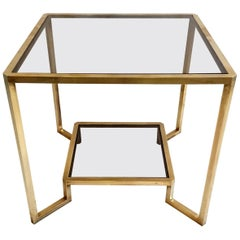 Italian Quare Brass End or Coffee Table, 1970
