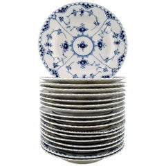 18 Plates Blue Fluted Full Lace Dinner Plates from Royal Copenhagen