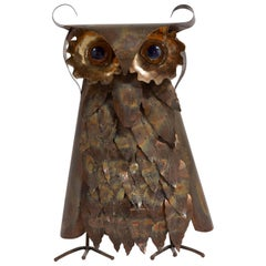 Brutalist Metal Owl Table Sculpture, 1960s