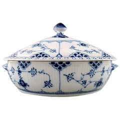Two Pieces, Royal Copenhagen Blue Fluted Full Lace Tureens, # 1/1129