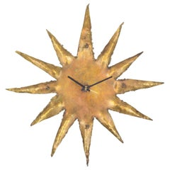 Rare Brutalist Brass Sunburst Wall Clock, 1970s