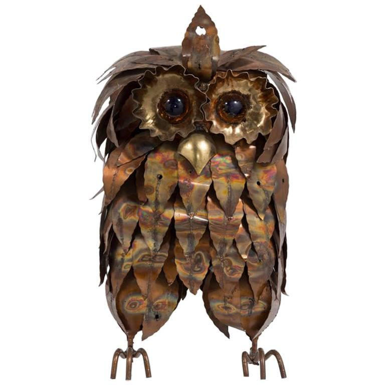 Metal Brutalist Owl Table Sculpture, 1960s