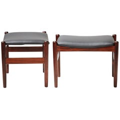 Rosewood and Leather Stools by Unknown Danish Designer, 1960s
