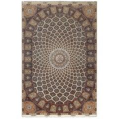 Large Geometric Vintage Tabriz Persian Rug