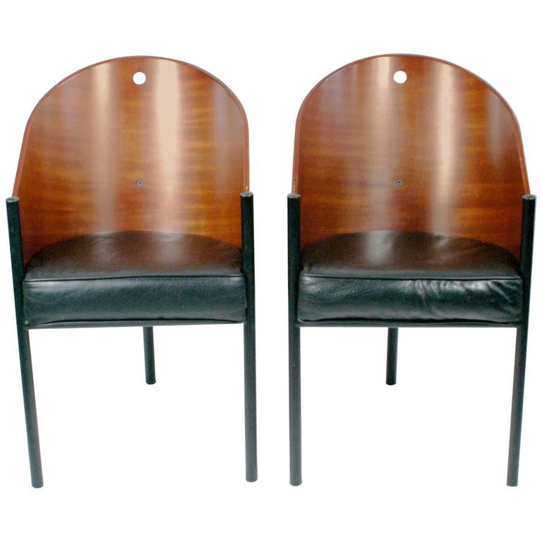 Pair of brown mahogany Costes Chairs by Philippe Starck