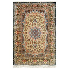 Silk Vintage Qum Persian Rug