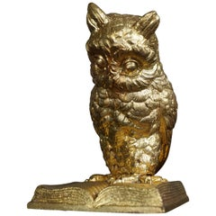 Late 19th Century Small Antique Gilt Bronze Owl on Book Sculpture, Paperweight