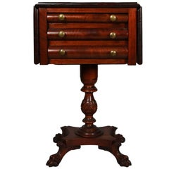 Antique American Empire Classical Flame Mahogany Drop-Leaf Three-Drawer Stand