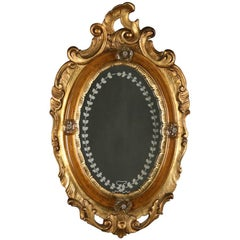 Antique Venetian Rococo Carved Giltwood and Etched Wall Mirror, 19th Century