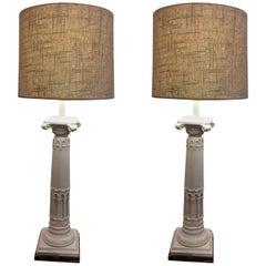 Fabulous Pair of Neoclassical Ceramic Column Motif Table Lamps
