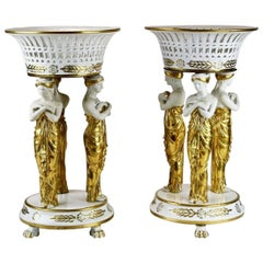 Pair of 19th Century Paris Porcelain Neoclassical Corbeille or Centrepieces