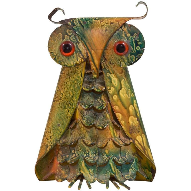 Brutalist Metal Owl Table Sculpture, 1960s