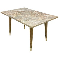 Beech Coffee Table with Marble Top in the Style of Gio Ponti, Italy, 1950s