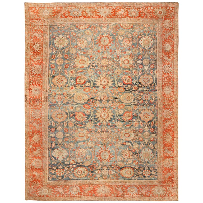 Blue Background Antique Sultanabad Persian Rug For