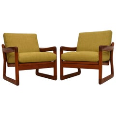Pair of Danish Retro Solid Teak Armchairs, Vintage