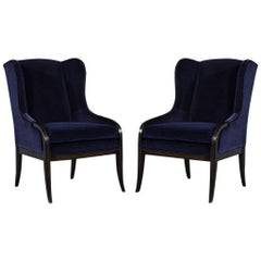 Pair of Custom Blue Velvet Wing Chairs