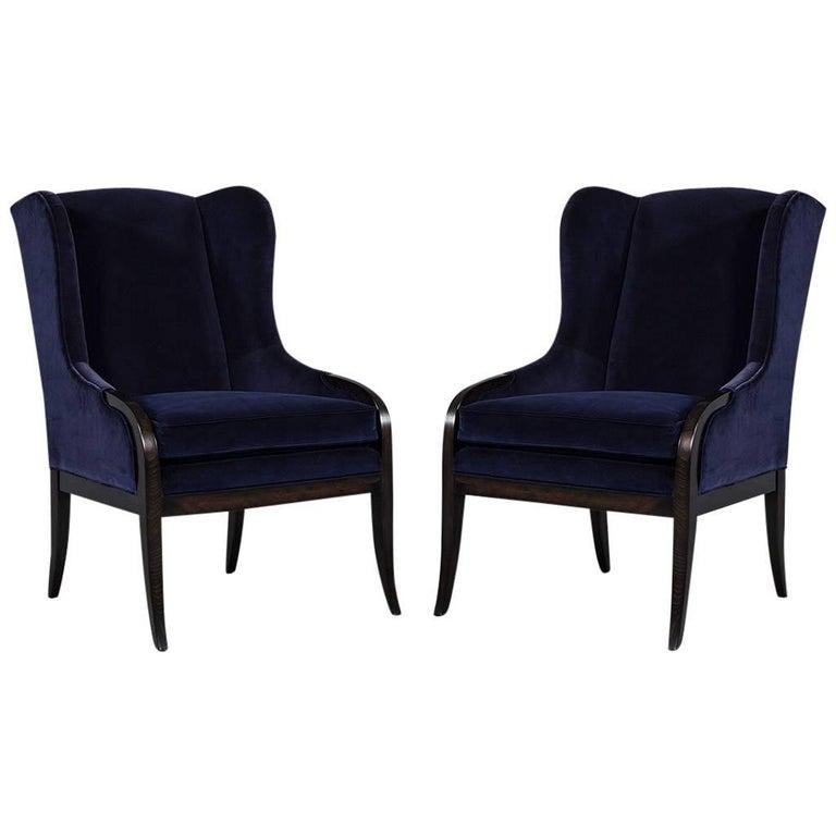 Pair of Custom Blue Velvet Wing Chairs For Sale