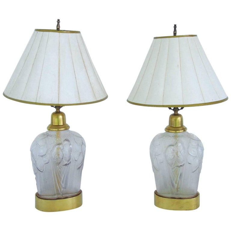 Pair of  French Art Deco Parrot Decorated Table Lamps