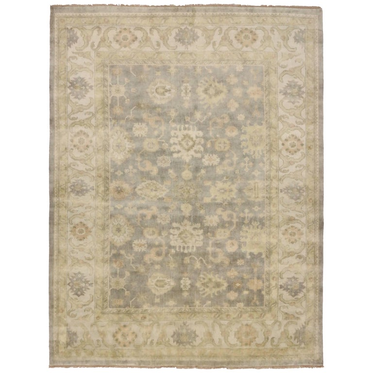 Modern Oushak Rug: New Modern Oushak Rug With Transitional Style At 1stdibs