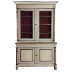 Antique Empire, Two-Piece Painted Pine Armoire Cupboard Cabinet