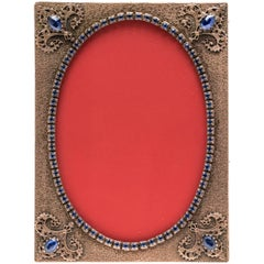Antique Jeweled French Picture Frame