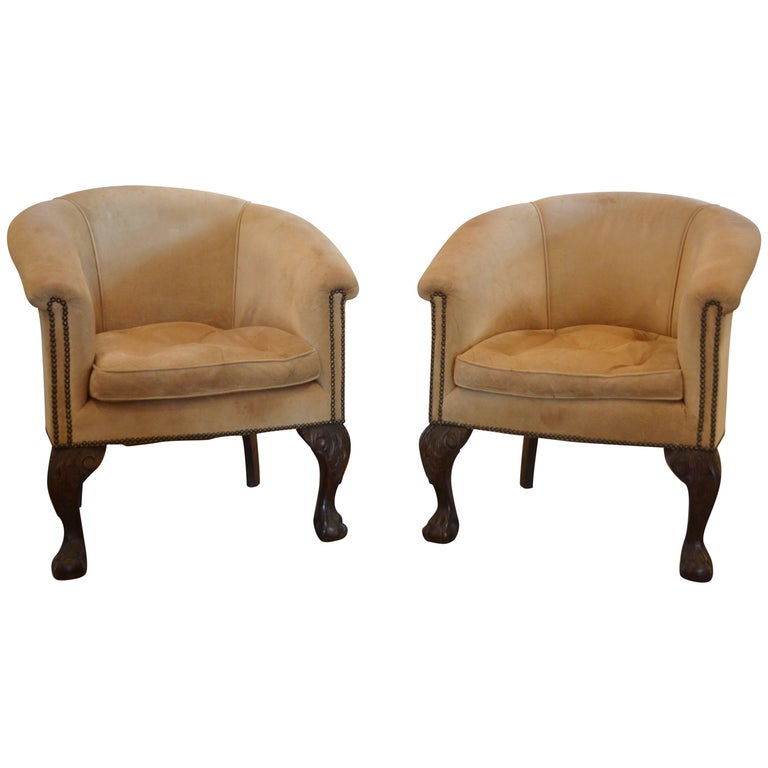Vintage Barrel Back Chairs in Suede with Ball and Claw