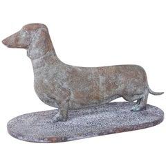 Mid-Century Cast Bronze Dachshund Dog Sculpture or Boot Scraper
