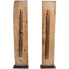 Carved Wooden Door Panel on Stands