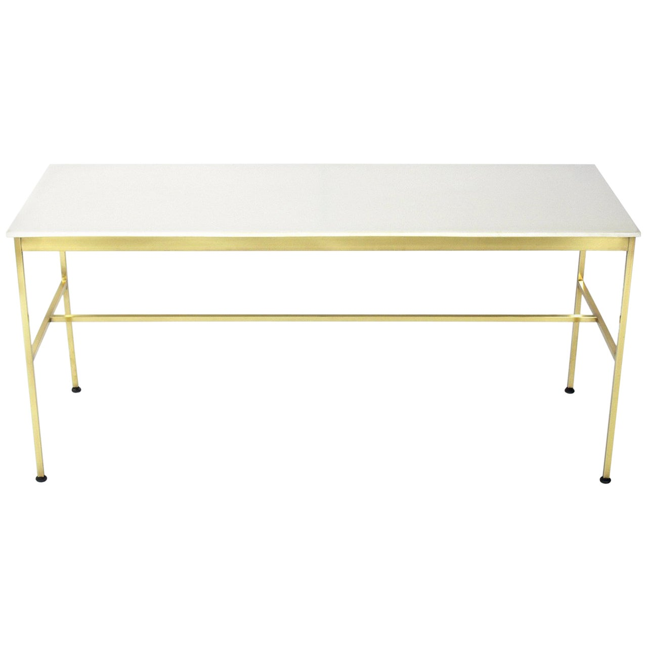 Modernist Brass and Milk Glass Console by Paul McCobb