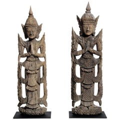 Pair of Carved Thai Greeting Angels on Metal Bases