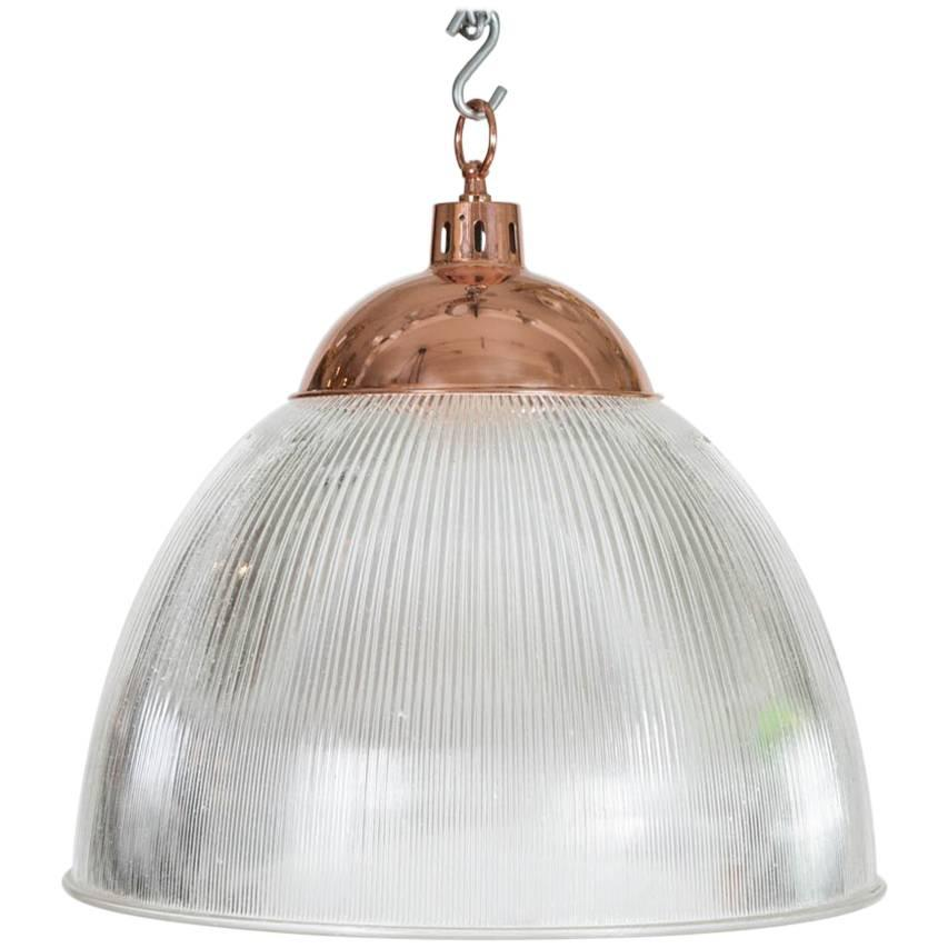 1960s Large Hanging Light from an Aircraft Hanger with Rose-Gold Colored Cap