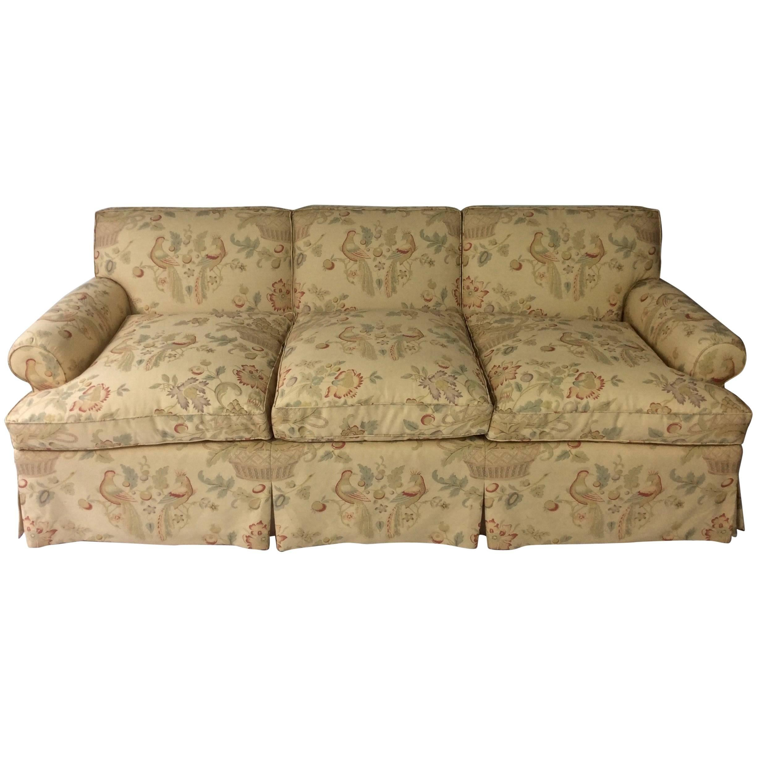 english style sofa custom upholstered in bennison hand blocked rh 1stdibs com Cottage Style Sofas english country style sofas