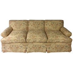 George Smith Style English Sofa, Custom Upholstered in Bennison Linen
