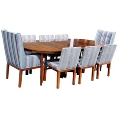 Mid-Century Modern Widdicomb Wood Oval Dining Expandable Table and Eight Chairs