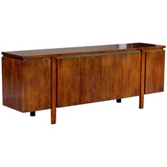 Mid-Century Modern Dale Ford for Widdicomb Parquet Top Walnut Brass Credenza