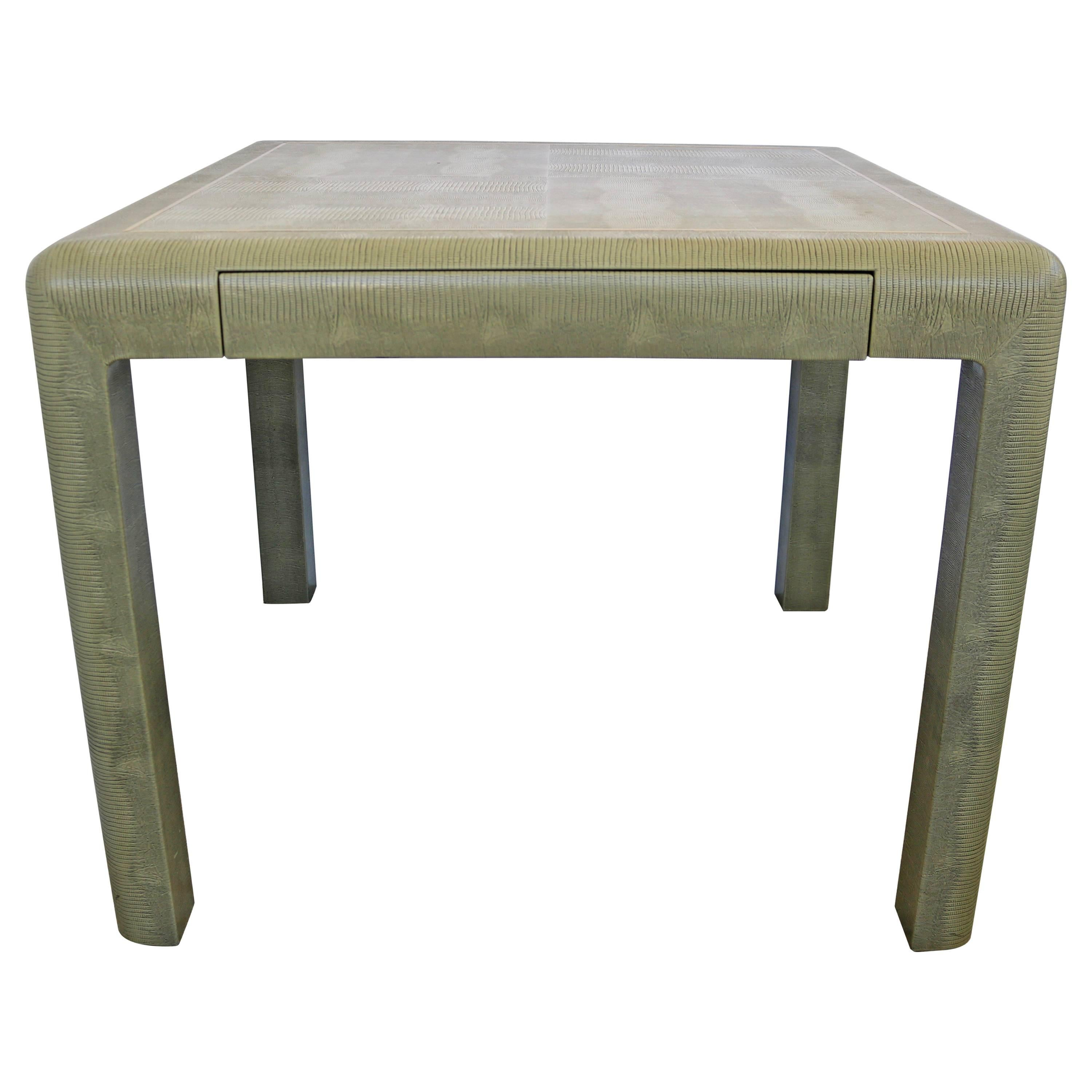 Karl Springer Game Table In Green Faux Lizard With Brass Trim, Circa 1986