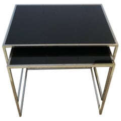 Vintage Minimalist Chrome and Black Glass Nesting or End Tables