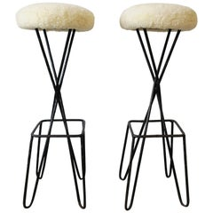 Pair Frederick Weinberg Hairpin Black Metal and Sheepskin-Esque Bar Stools