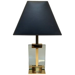 Vintage Brass and Glass Table Lamp, in the Manner of Fontana D'arte