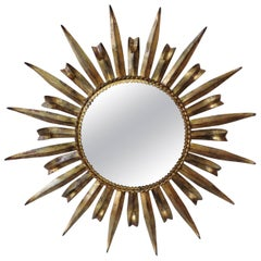 French Metal Sunburst Mirror, circa 1960