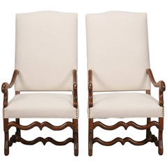 Pair of High Back Os De Mouton Arm Chairs with New Upholstery